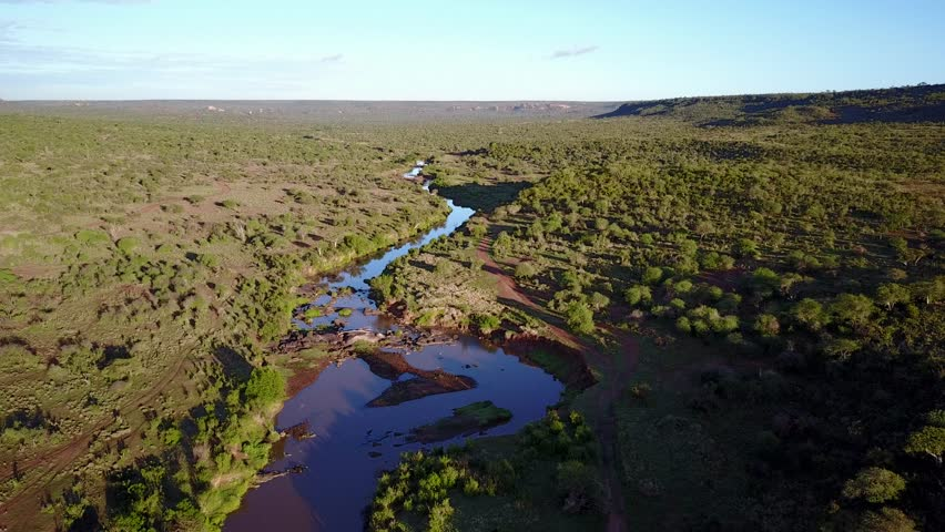 Aerial footage of river flowing through unspoilt wilderness. Kenya, East Africa