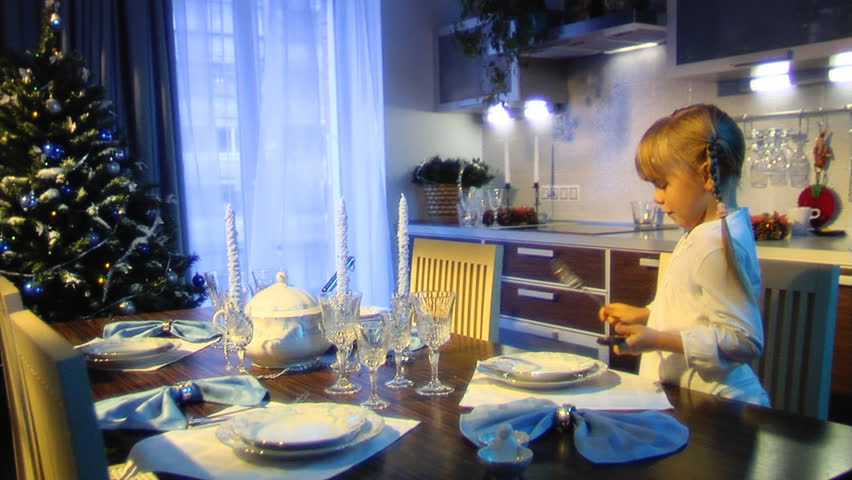 The Little Girl To Lay The Table Stock Footage Video