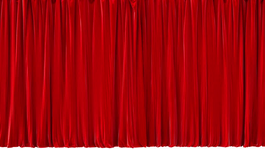 Opening Red Theater Curtains. With Alpha Channel.   HD Stock Footage Clip