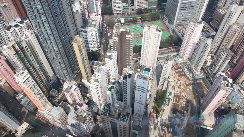 Hong Kong Island Skyline from above in the middle of skyscrapers at Central/Wan Chai/Admiralty