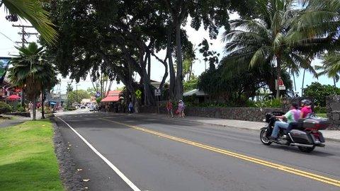 KAILUA-KONA- MAY 03 Road traffic at Alii drive, the oceanfront downtown street of Kailua-Kona. May 03, 2017 in Kailua-Kona, Big Island, Hawaii, USA