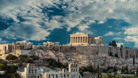 Parthenon, Acropolis of Athens, Greece - Timelapse with dramatic sky at daytime