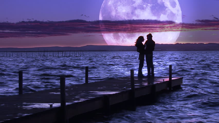 Lovers in the lake opposite to the moon. 1920x1080p