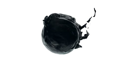 Black paint (oil, petroleum) flows with splashes around sphere with attraction to its center (with alpha channel). Good effect for ids, packshots, round logotypes. Separated on pure white background.