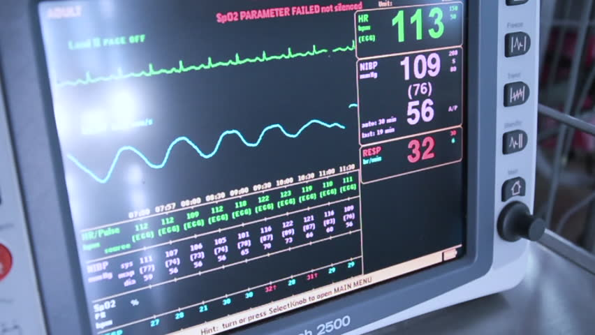 Heart Blood Pressure Monitor Used In A Hospital Room Stock ...