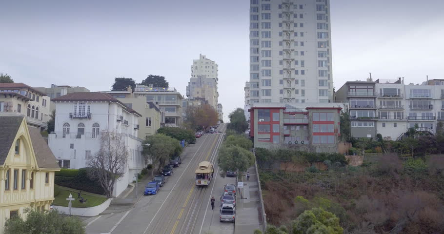 Aerial drone of the san francisco cable car from russian hill