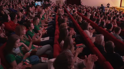 Novosibirsk Russia - May 20 2017: Listeners on learning conference or culture show. Leisure or convention for satisfaction. All seats are busy in large hall. Teamwork or studying management of company