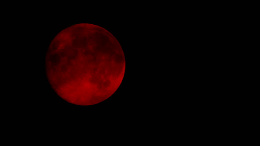 Red Moon On Cloudy Night Closeup