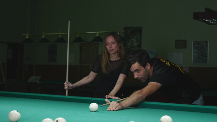 three ladies are playing billiards and having unforgettable threesome  24061