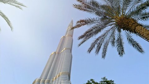 DUBAI, UNITED ARAB EMIRATES - May 1, 2017: Low angle view of Burj Khalifa in Dubai, UAE, the tallest building in the world