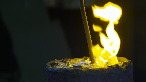Molten metal in an industrial plant.