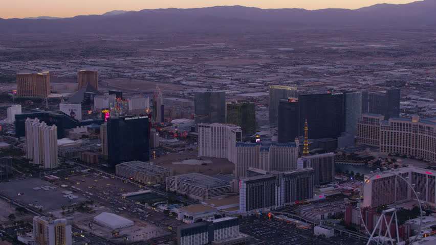 Las Vegas, Nevada circa-2017, Wide angle aerial view of Las Vegas Strip at sunset. Shot with Cineflex and RED Epic-W Helium.   Shutterstock HD Video #28477312