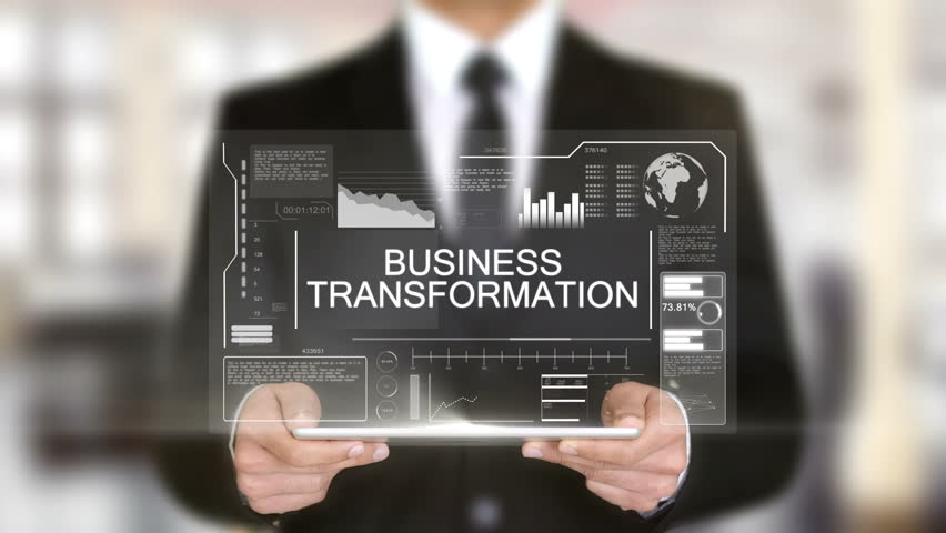 Business Transformation, Hologram Futuristic Interface, Augmented Virtual