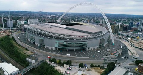 LONDON, UNITED KINGDOM - JUNE 22, 2017 - Aerial pull out view of Wembley stadium in North London