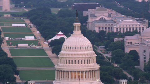 Washington, D.C. circa-2017, Close-up aerial view of the Capital Dome and Washington D.C. Shot with Cineflex and RED Epic-W Helium.