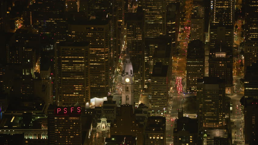 Philadelphia, Pennsylvania circa-2017, Aerial view of Philadelphia City Hall at night. Shot with Cineflex and RED Epic-W Helium. | Shutterstock HD Video #28500415