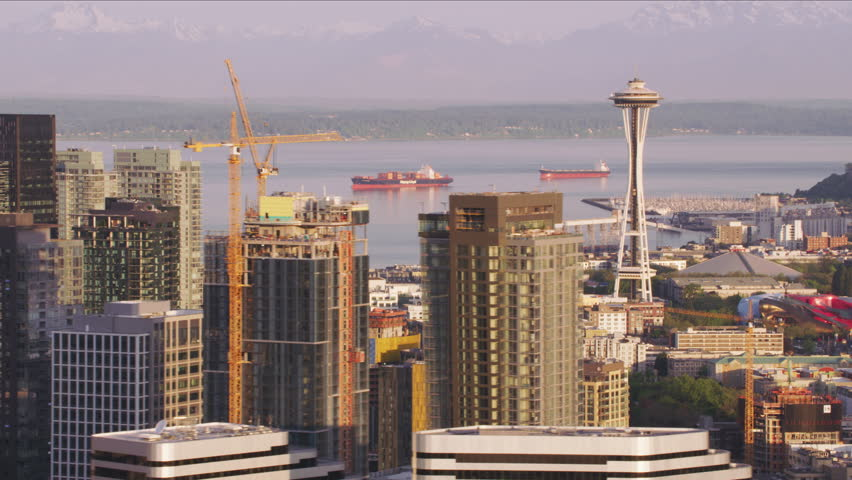 Seattle, Washington circa-2017, Aerial view of downtown Seattle in morning. Shot with Cineflex and RED Epic-W Helium.