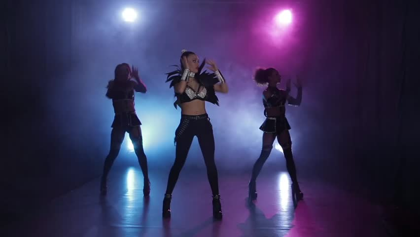 Sexy Girls Dancing In Original Leather Outfit In Lights Smoky