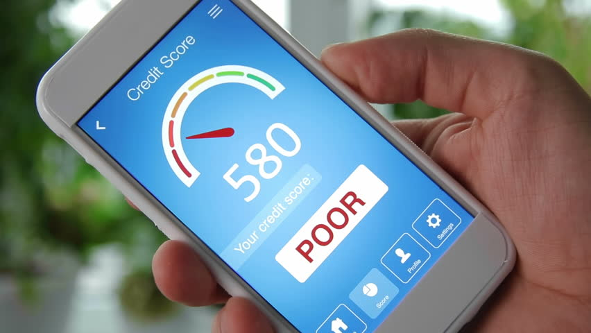 Checking credit score on smartphone using application. The result is POOR | Shutterstock HD Video #28551925