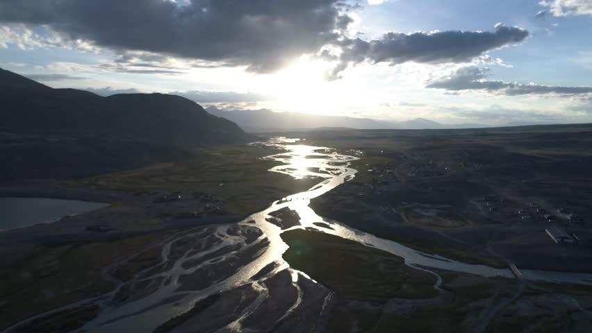 Aerial shot of Chaganuzun river in Altai at sunrise