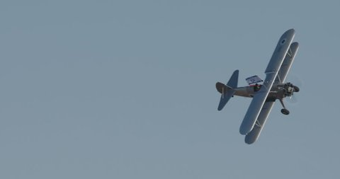 Bi-plane during aerobatics display on an airshow