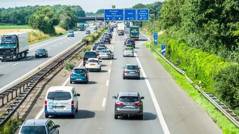 MOERS / GERMANY - JULY 07 2017 : Accident causing traffic jam on the motorway A57 close to the A40