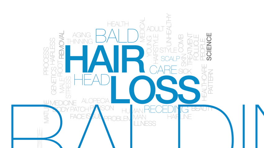 Hair loss animated word cloud, text design animation. Kinetic typography.