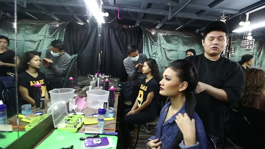 """Bangkok, Thailand - July 2, 2017 ; Final Round of """"Miss Supranational Contest 2017"""" at The Bazaar Hotel, beauty pageant, back stage for make up and hair dresser"""