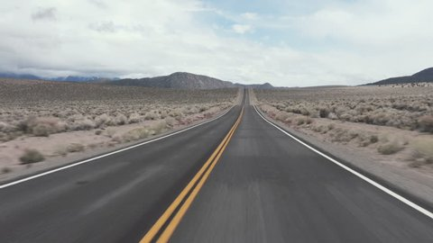 Driving USA: The open road – exciting journey on road through the desert, California, USA