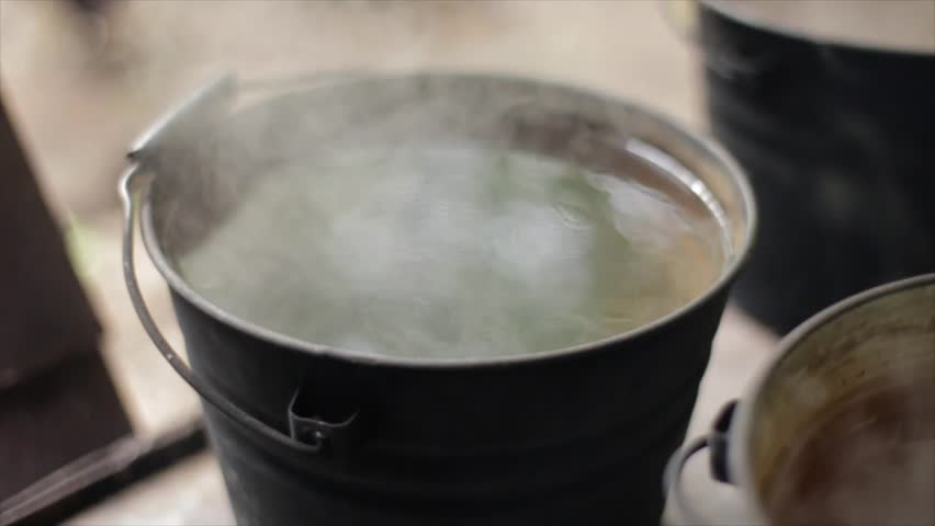 Boiling Water Steam A Pot Of Boiling Water...