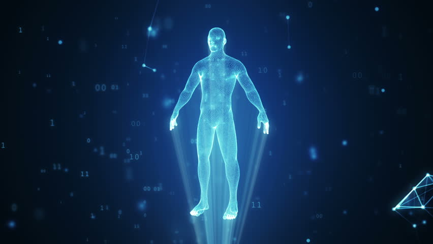 Human hologram from points and polygons in a cloud of binary code and connections
