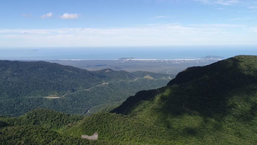 Aerial View of Sao Paulo Coastline - Litoral Norte, Brazil