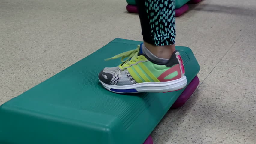 Sakhalin, June 2017:Close-up feet of woman  in a fitness club