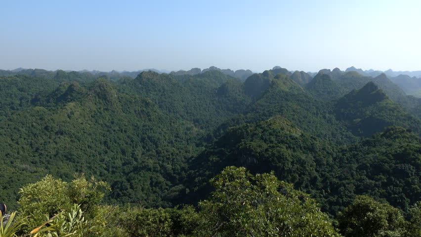 Beautiful views of Cat Ba Island from the observation deck at Ngu Lam peak. Cat Ba National Park is a visually stunning and ecologically diverse national park.