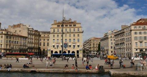 MARSEILLE, FRANCE - CIRCA 2017:  Vieux-Port, Marseille port city southern France european tourism destination