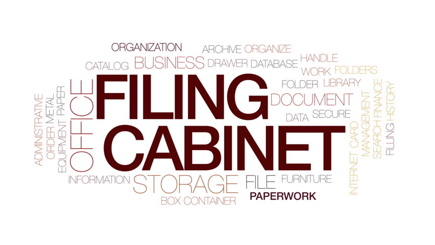 Filing cabinet animated word cloud, text design animation. Kinetic typography.
