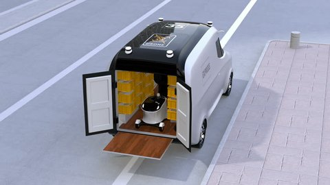 Delivery van releasing self-driving robots and drone to delivering parcels. Automatic delivery system concept. 3D rendering animation.