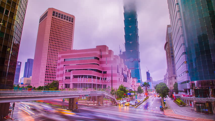 Time Lapse - Street Traffic View in Taipei, Taiwan in a Cloudy Day | Shutterstock HD Video #28758085