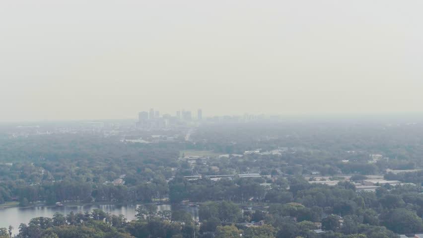 Orlando Morning Fog Skyline Fly Forward #28759396