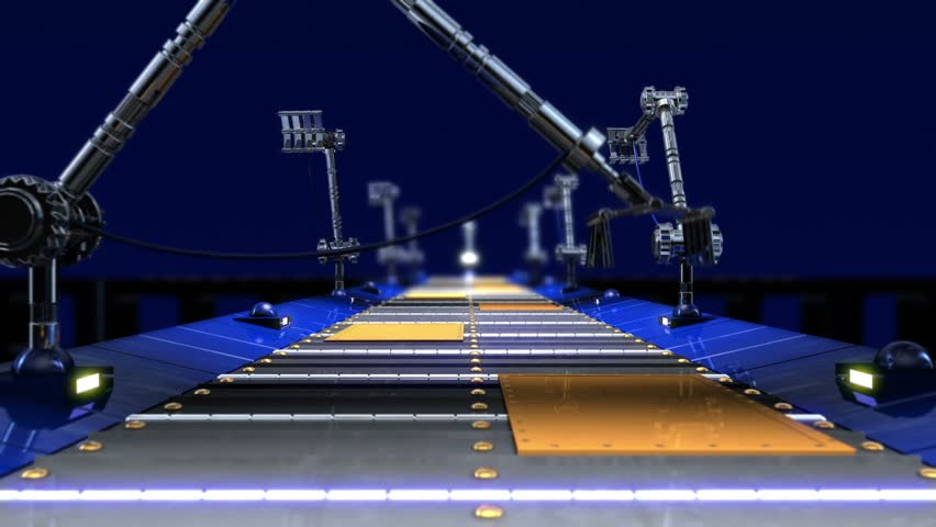 animated abstract technological industrial transporter background