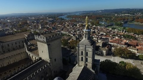 AVIGNON  FRANCE  NOV 2016 - DRONE SHOT - VIEW ON AVIGNON HISTORICAL CENTER. ORIGINAL VIEW FROM THE PALACE OF THE POPES