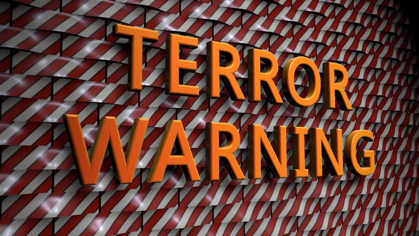 "Wall of rounded Plates with the Text ""Terror Warning"", with a Camera Move from the Side to a Front View. The Plates are in Red-White and the Text is in Yellow (3D Rendering) 
