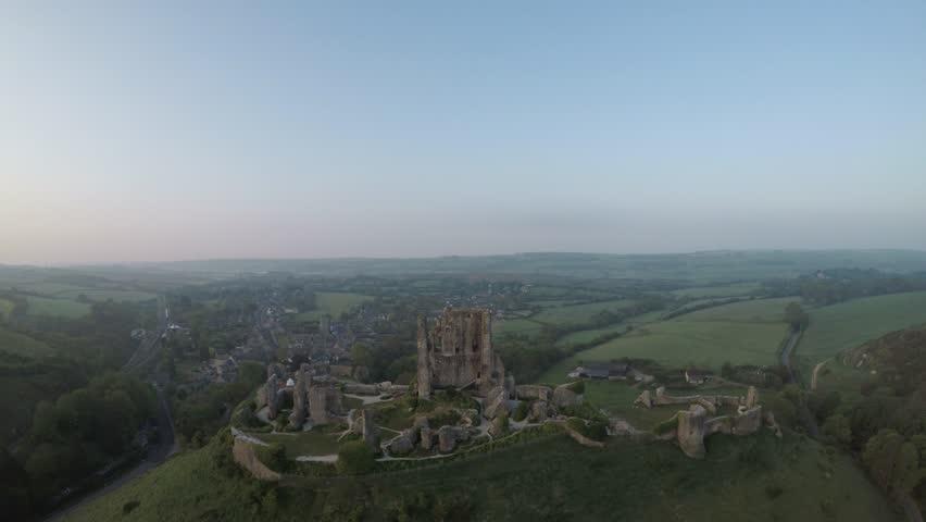 Corfe Castle Aerial, Dorset, United Kingdom.