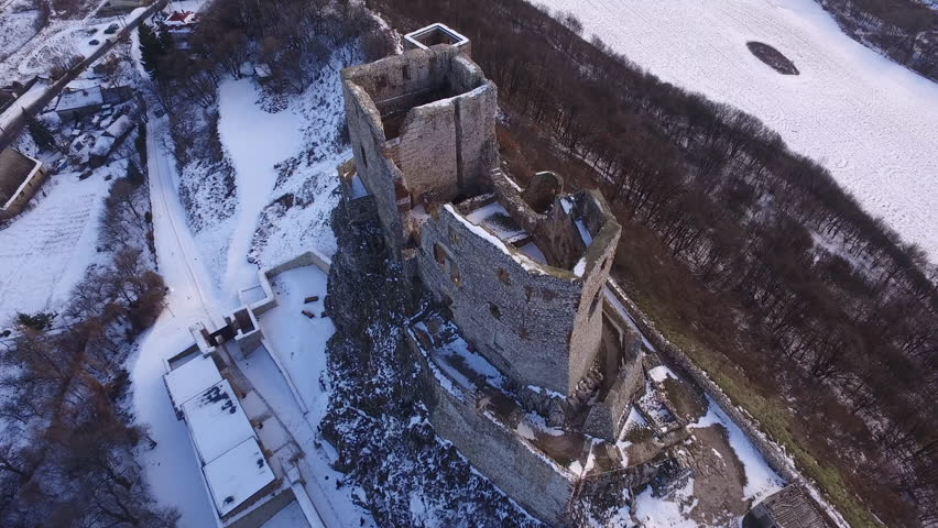 Old fortress on a hill, aerial shot at winter season | Shutterstock HD Video #28801945