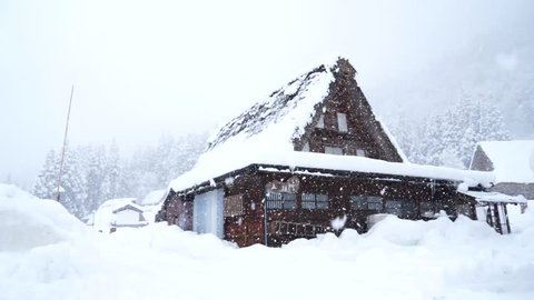 Heavy snow on Gassho house at Gokayama Ainokura Village Japan