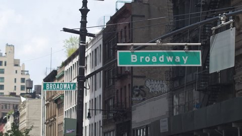 New York City, USA , 05.05.2017, Broadway crossroads  in Manhattan. Sign of Broadway close-up. Dolly shot .
