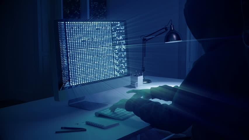 3d rendering. hacker stealing data from pc. | Shutterstock HD Video #28818085
