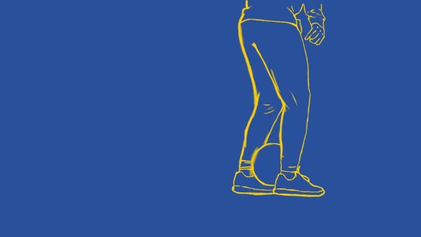 Man play a football with line drawing graphic - Rotoscope technique animation