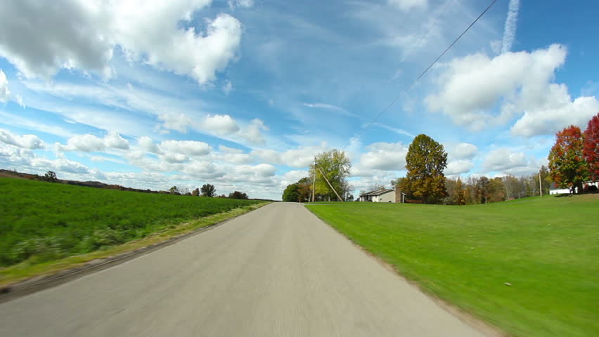 Driver's perspective of the back roads of western Pennsylvania on a crisp Autumn
