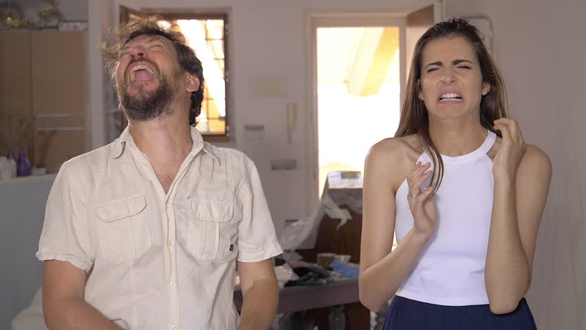Man telling girlfriend to smell stinky armpit funny slow motion